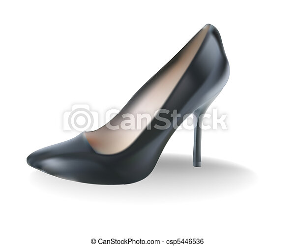 Black female shoes with a high heel - csp5446536
