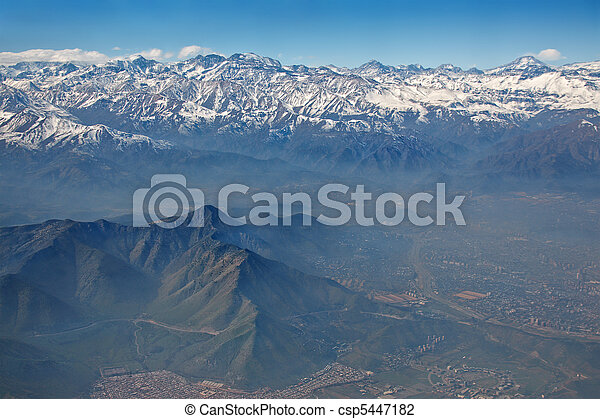 aerial view of Andes and Santiago with smog, Chile - csp5447182