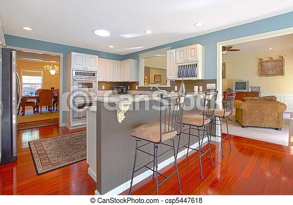 Plaatjes van levend bar kamer keuken keuken met bar en levend csp5447618 zoek - Lounge en keuken in dezelfde kamer ...