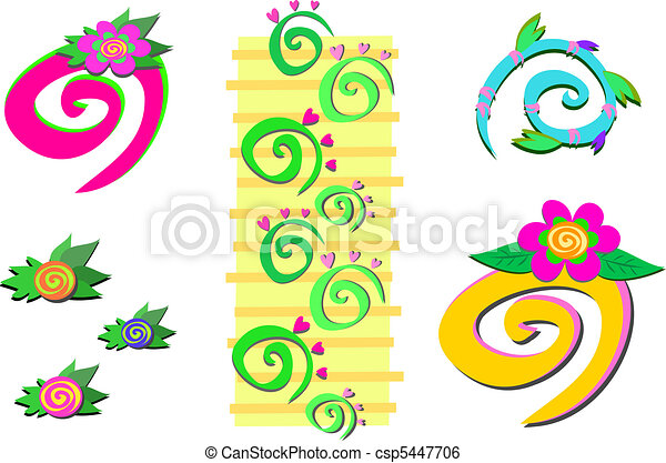 Mix of Spirals, Plants, and Hearts - csp5447706