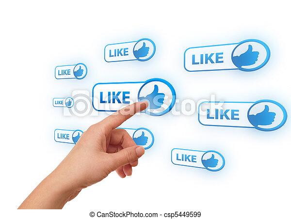 hand pressing social network icon - csp5449599