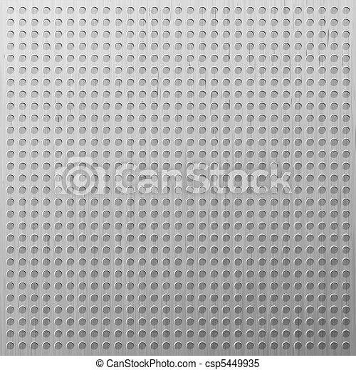 Glossy chrome grid with disc-shaped holes. EPS 8 - csp5449935