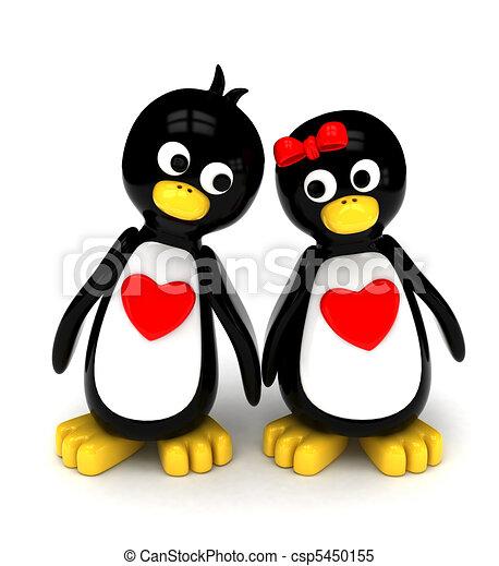 Penguin Couple Drawing Penguin Couple Csp5450155