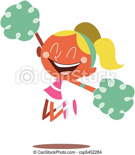 Blond cheerleader jumping and cheering - csp5452284