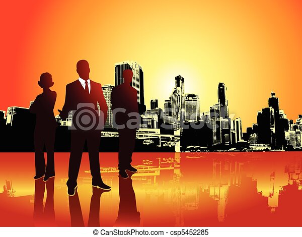Corporate or business team with urban background - csp5452285