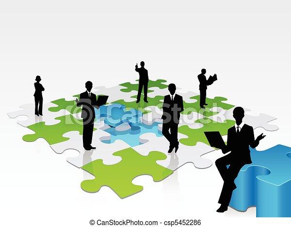 3D business silhouette assembling a puzzle - csp5452286