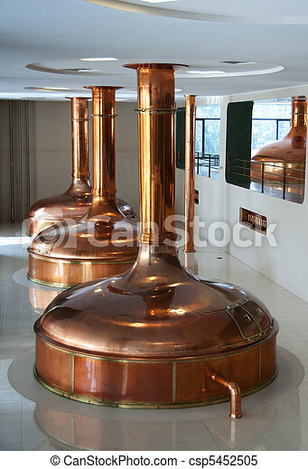 three brewing vessels in brewery. - csp5452505