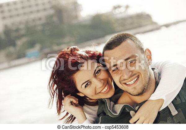turkish couple at sea - csp5453608