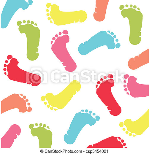 colorful children footprint - csp5454021