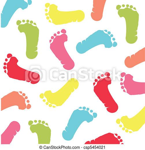 colorful children footprint - csp5454021