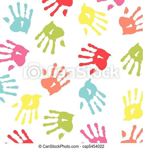 colorful children handprint - csp5454022