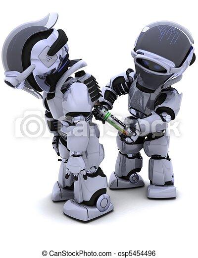 Robot replacing battery pack - csp5454496
