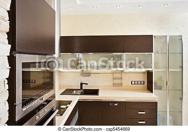 A keményfa, belső, Berendezés, modern, Konyha - modern,... csp5454669 stock fotói - Keressen ...