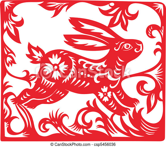 Chinese Zodiac of Rabbit Year. - csp5456036