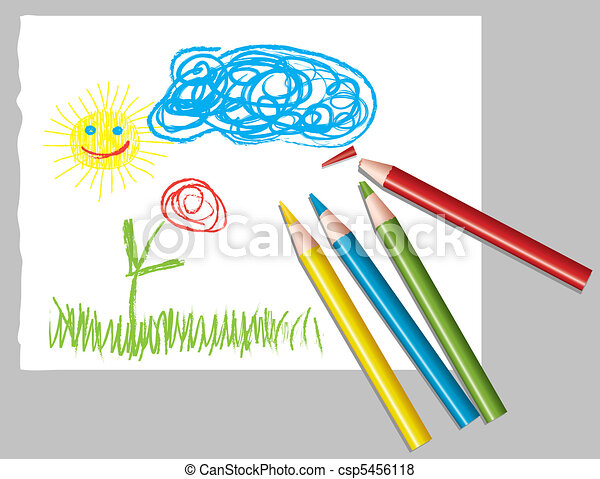 child's drawing and colored pencils - csp5456118