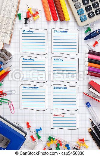 blank school schedule for the week