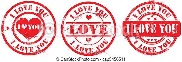 Postal stamp i love you. Vector - csp5456511