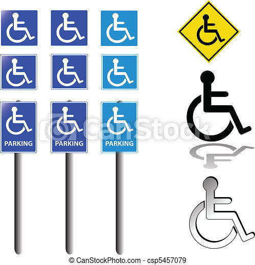 collection of handicap signs - csp5457079