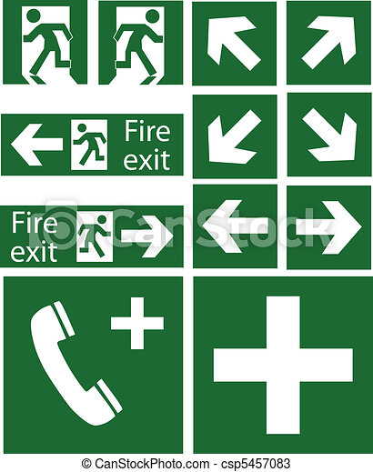 green emergency signs - csp5457083