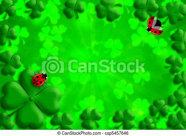Shamrock Leaves Lucky Ladybug for St Patricks Day - csp5457646