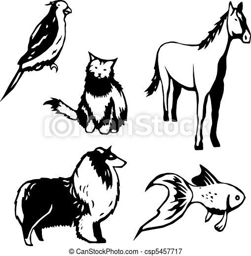 Illustrazioni vettoriali di animali domestici cinque for Piani domestici su ordinazione arizona
