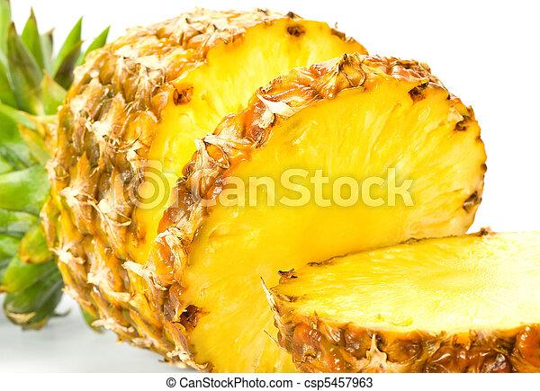 Fresh slice pineapple on white back - csp5457963