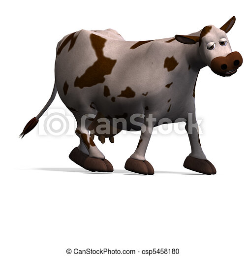 cute and funny cartoon cow. 3D rendering and shadow over white - csp5458180