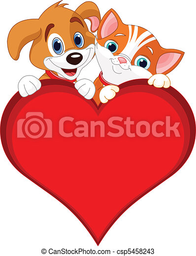 Valentine Cat and dog sign - csp5458243