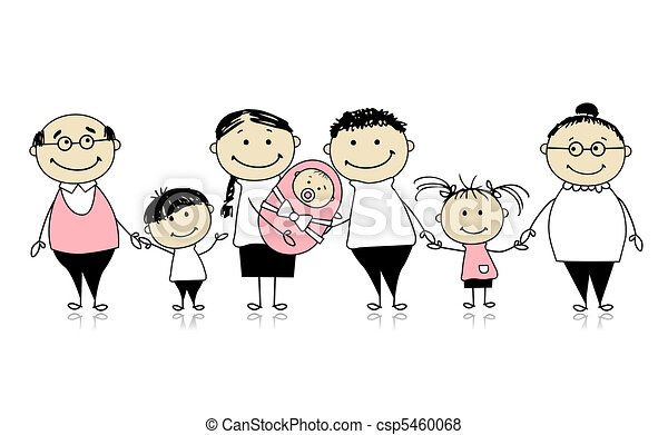 Vector de feliz, grande, familia, niños, recién nacido, bebé ...