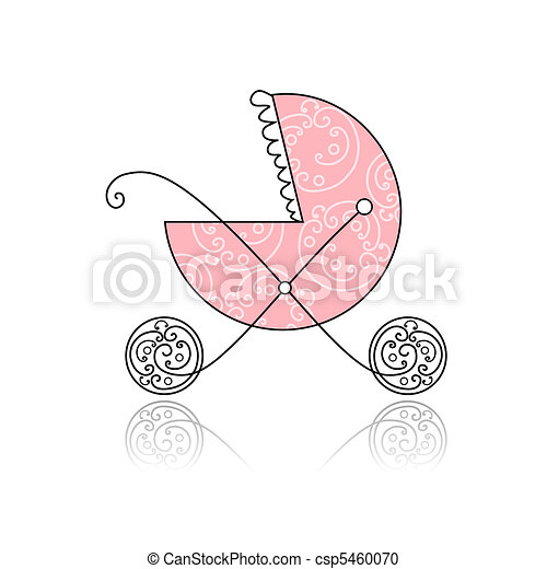Baby buggy pink for your design - csp5460070