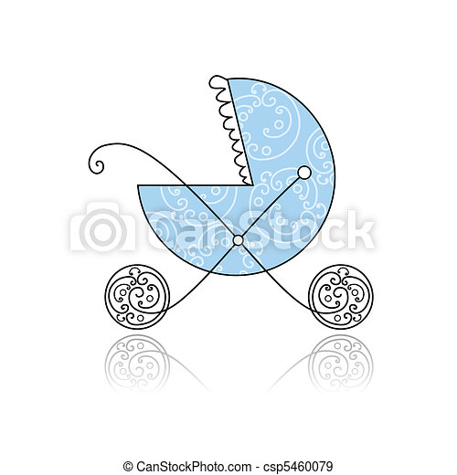 Baby buggy blue for your design - csp5460079