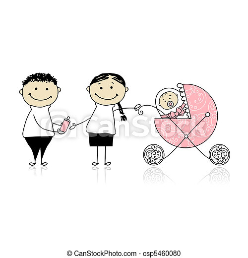 Parents walking with newborn, baby in buggy - csp5460080
