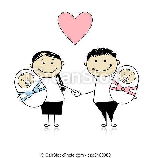 Happy parents with newborn twins - csp5460083
