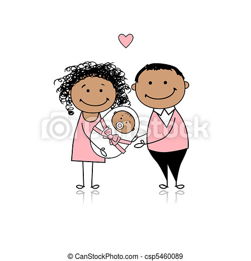 Happy parents with newborn baby - csp5460089