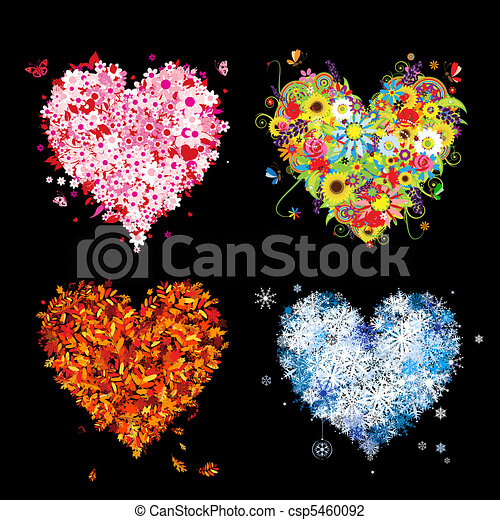 Four seasons - spring, summer, autumn, winter. Art hearts beautiful for your design - csp5460092