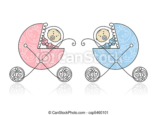 Newborn in baby's buggy for your design - csp5460101