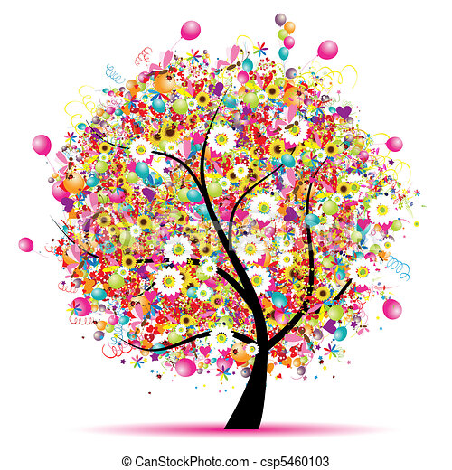 Happy holiday, funny tree with balloons  - csp5460103
