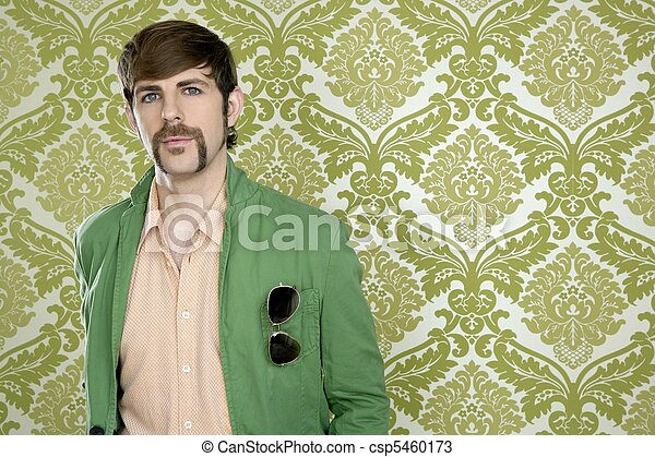 eccentric retro mustache geek man salesperson - csp5460173