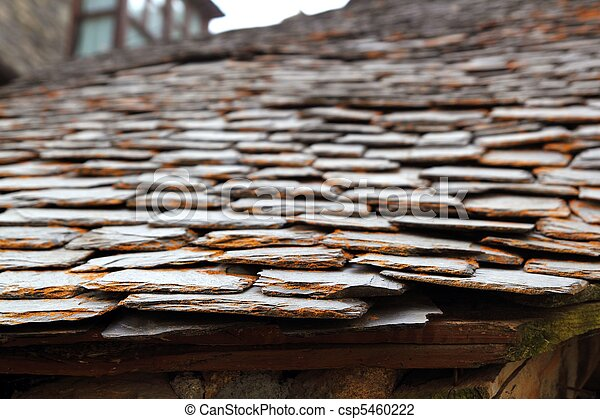 slate stone roof tiles perspective selective focus - csp5460222