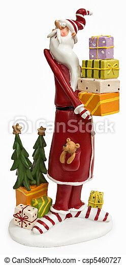Funny tall skinny Santa Claus in red coat - csp5460727