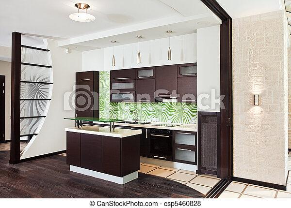 Stock Beeld van vloer, houten, moderne, donker, Interieur, keuken ...