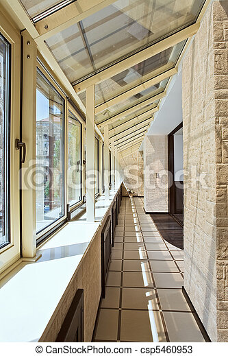 Long balcony (gallery) interior - csp5460953