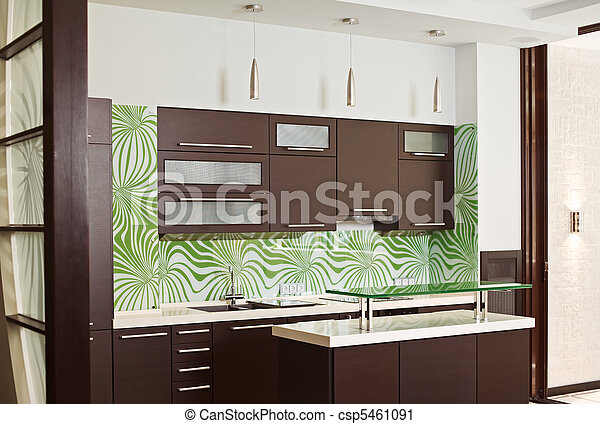 Modern Kitchen interior with hardwood furniture - csp5461091