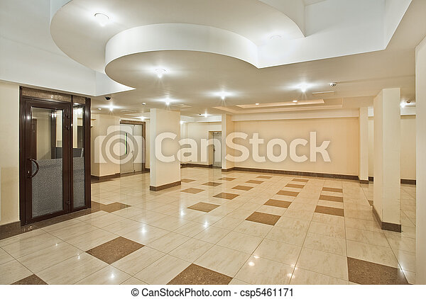 Roomy hall of modern residential building - csp5461171