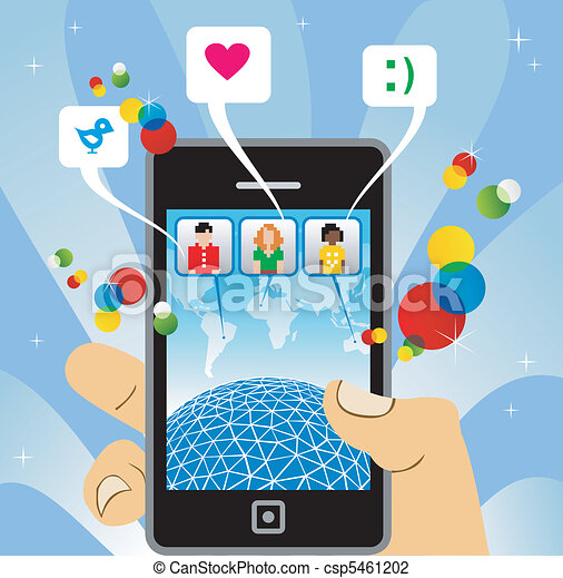 Vektor telefon mobile verbinden zu sozial vernetzung stock
