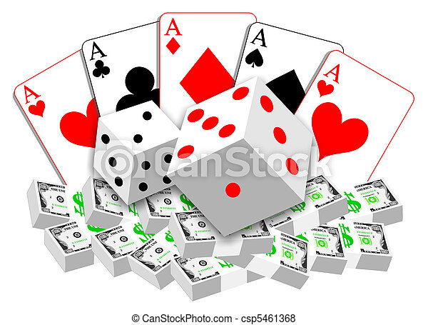 Gambling illustration of cards, dices and money - csp5461368