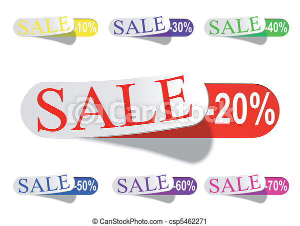 Glossy Retail Sticker Set: Sell And Discount - csp5462271