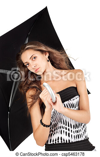 Young beautiful woman with black umbrella portrait - csp5463178