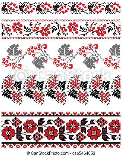 Ukrainian embroidery ornament - csp5464053