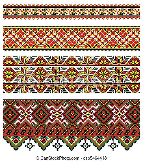 Ukrainian embroidery ornament - csp5464418